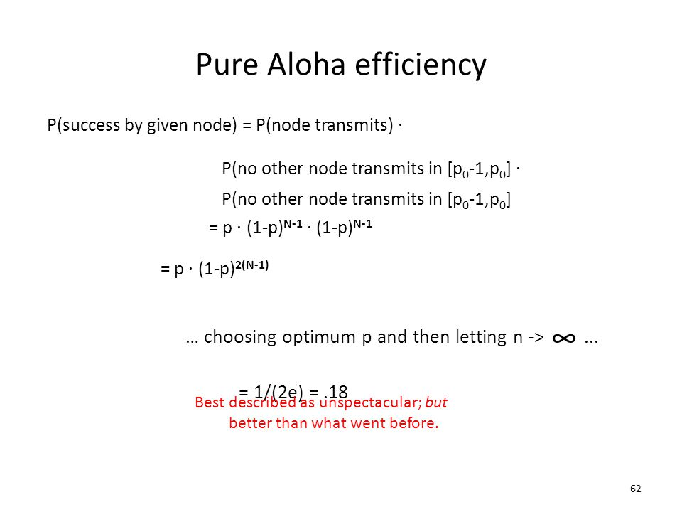 Pure Aloha efficiency P(success by given node) = P(node transmits) . P(no other node transmits in [p0-1,p0] .